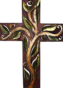 vine cross metal wall art home kitchen. Black Bedroom Furniture Sets. Home Design Ideas