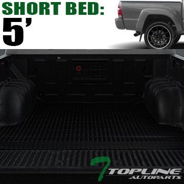 Topline Autopart Black Rubber Diamond Plate Truck Bed Cargo Box Floor Mat Carpet 05-17 Toyota Tacoma Double Cab 5 Ft 60