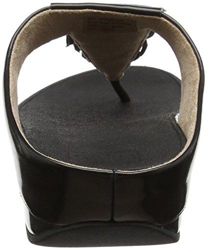 Bout Black Femme 1 FitFlop Sandals Cha Metallic Thong Fringe Ouvert Noir Toe qpvYwq