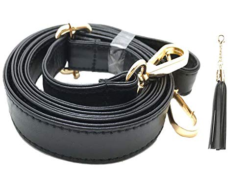 Purse Strap Replacement - Adjustable Microfiber Leather for Crossbody Bag or Handbag - 34 Inch- 59 Inch Long 0.8 Inch Wide, Black with Gold Clasp, by Beaulegan
