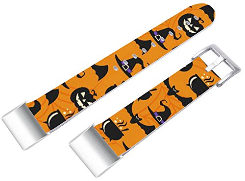 Bands for Fitbit Charge 2, Leather Strap Replacement for Fitbit Charge 2 (HR) Small/Large + Kawaii Cute Pattern Halloween Hallowmas All Saints' Day Present ()