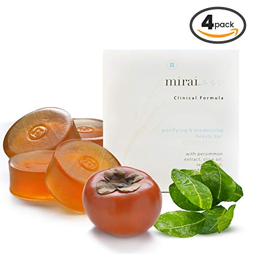 Purifying & Deodorizing Soap Bar | Handmade Soap with Japanese Persimmon Extract to Help with Nonenal Body Odor Associated with Aging | Artisanal Japanese Soap for Men & Women | 4 bars 100g each