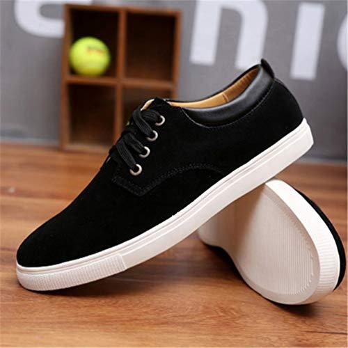 Zapatos Transpirable Pisos Zapatos Hombres Lona De Negro Cuero Los Casuales De 8tqnwO