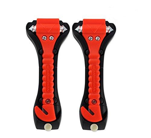 Qiker Orignial Car Safety Antiskid Hammer & Seatbelt Cutter & Window Punch Breaker, Set of 2