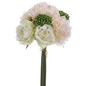Way Home Fair Blush & White Peonies, Sedum, Silk Peony & Rose Bouquet, Artificial Flowers, Wedding Bouquet 113