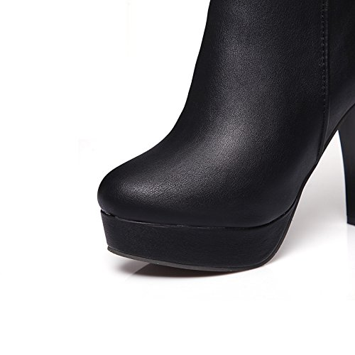 Black Calf fibbia moda Stiletto per Bootie Inverno Heel HSXZ similpelle Stivali Mid Scarpe stivaletti stivaletti la donna Toe Stivali Autunno Round stivali pu qnFBAwH