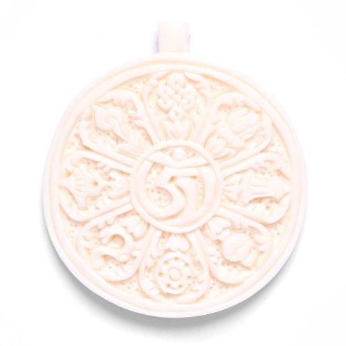 81stgeneration Women's Men's Handcarved Bone Tibetan Buddhist Om Sacred Symbol Pendant (Bone Surfer Necklace)
