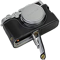 Bottom Opening Version Protective Real Leather Half Camera Case Bag for Fuji Fujifilm x100f with Hand Strap Black