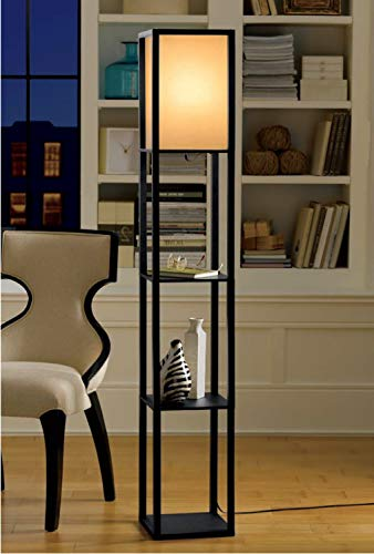 Home Decorators Modern Floor Lamp - Floor Standing Shelves Lamp Display Storage for Bedroom Bedside Corner Living Room Simple Modern Floor Lights with White Linen Shade 3 Shelf Durable and Heavy Duty Color Black