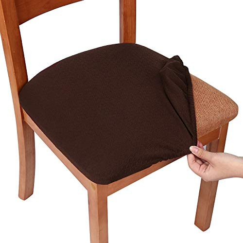smiry Seat Covers for Dining Room Chairs Stretch Jacquard Dining Room Chair Seat Covers Set of 6, Chocolate