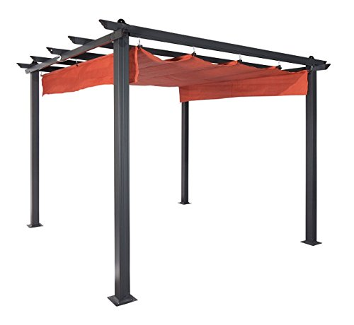 "Coolaroo Aurora Pergola, Backyard or Patio Shade Pergola, Light Filtering 90% UV Block, (9'8"" X 9'8""), Terracotta"