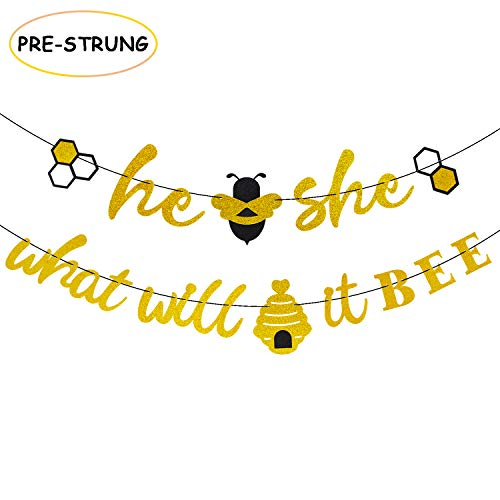 He or She What Will It Bee Banner Gender Reveal Garland with Bee and Beehive Baby Shower Glitter Party Favor Supplies Decorations -