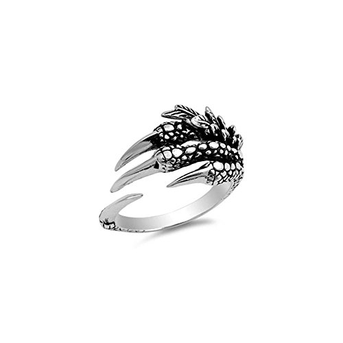 - Noureda Sterling Silver Stylish Eagle Claw Ring with Face Height of 14MM