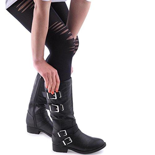 Lilley Womens Zwarte Kniehoge Laars Met Gespen Zwart