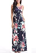Zattcas Maxi Dresses for Women,Womens Crew Neck Sleeveless Summer Floral Maxi Dress with Pockets
