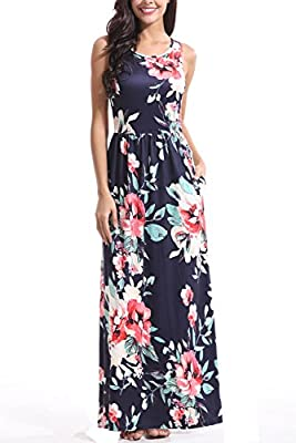 Zattcas Maxi Dresses for Women,Womens Crew Neck Sleeveless Summer Floral Maxi Dress with Pockets …