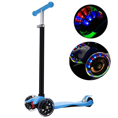 Kids Wheeled Three Scooter (WeSkate Kick Scooter for Kids 3 Wheels, Adjustable Height Kids Scooter for Boys and Girls 3-12, LED Light Flashing PU Wheels)