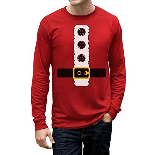 Christmas Funny Gift - Santa Jacket Costume Xmas Men's Long Sleeve T-Shirt X-Large Red (Family Halloween Costume Ideas With Baby)