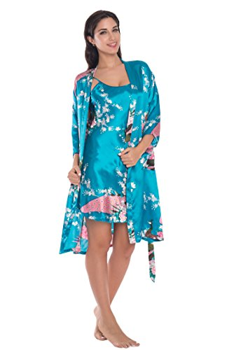 Joy Bridalc Women's Kimono Robe Gorgeous Loungewear 2PC Set Sleepwear Camisole & Robe, Turquoise 3XL