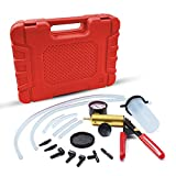 HTOMT 2 in 1 Brake Bleeder Kit Hand held Vacuum Pump Test Set for Automotive with Sponge Protected Case,Adapters,One-Man Brake and Clutch Bleeding System (Red)