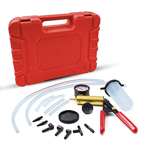 (HTOMT 2 in 1 Brake Bleeder Kit Hand held Vacuum Pump Test Set for Automotive with Sponge Protected Case,Adapters,One-Man Brake and Clutch Bleeding System)