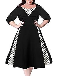 Women's Half Sleeves 1950s Vintage Style Plus Size Swing Dress