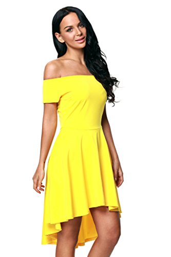 Womens Shawhuwa Low Yellow Shoulder Off Party Sexy High Skater Dress Flare Dress d7nTq7rxw8