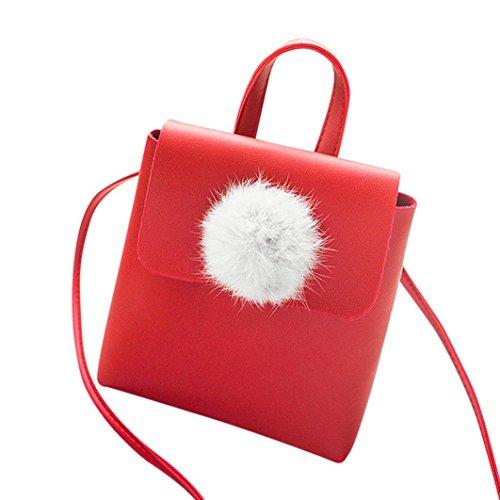 Bandoulière Main Cuir Bagages Mode Crossbody Hairball Zycshang Rouge En À Téléphone Sac Femmes Pour Solide Couverture rose Femme Sacs Bag wYq8t1Y