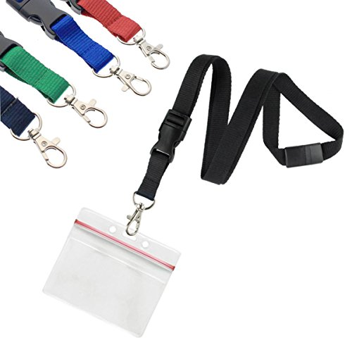 5 Pack - Premium Lanyards with Detachable Horizontal Re-Sealable ID Badge Holder by Specialist ID (Assorted Colors) - Ship Key Holder