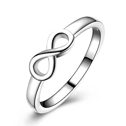 Chengxun Best Friends Forever Infinity Ring Cubic Zirconia (Silver)