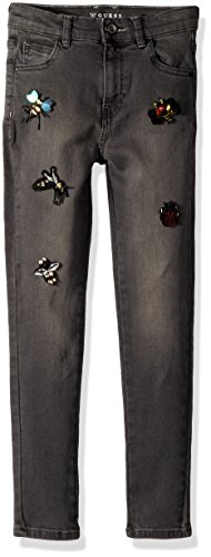 Guess Girls' Big Super Skinny High Waist Embellished Black Denim, Grey Medium wash, 10 -