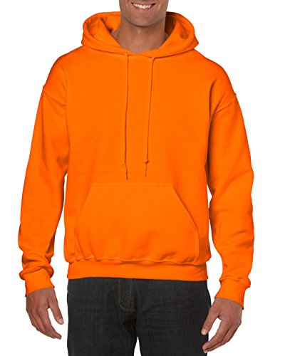 Gildan Men's Heavy Blend Fleece Hooded Sweatshirt G18500, Safety Orange, Large