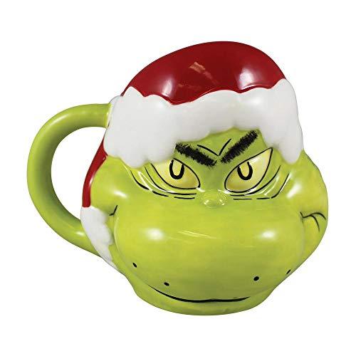 Price comparison product image Dr. Seuss - Grinch with Santa Hat 16 Ounce Ceramic Sculpted Mug - Vandor 56366