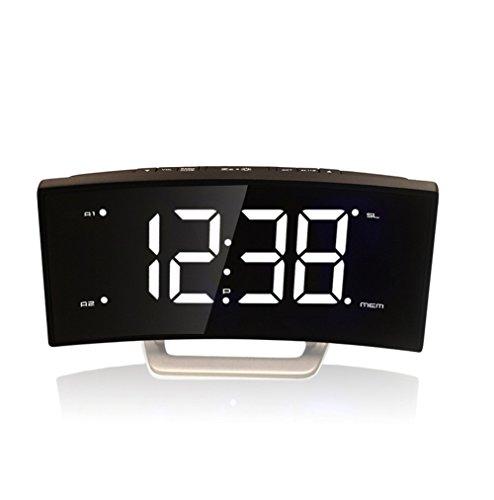 lovehouse Electronic digital alarm clock, Fm radio alarm clock,Dual alarm snooze sleep timer extra large vision display curved screen bedroom living room-C
