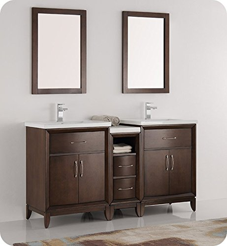Fresca Cambridge Antique Coffee Brown 60-inch Traditional Double-Sink Bathroom Vanity with Mirrors