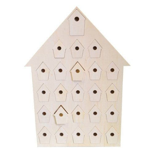 Artemio 14001667 Wooden Advent Calendar Nest Houses, 34.5cm x 47cm x 5cm