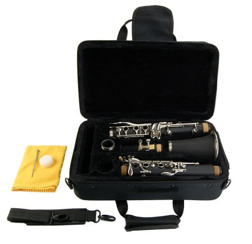 Merano B Flat Black / Silver Clarinet with Case+Mouth Piece+Reed and Cap; Screwdriver; Soft Cleaning Cloth; Cork Grease; A Pair of Gloves+Free Metro Tuner