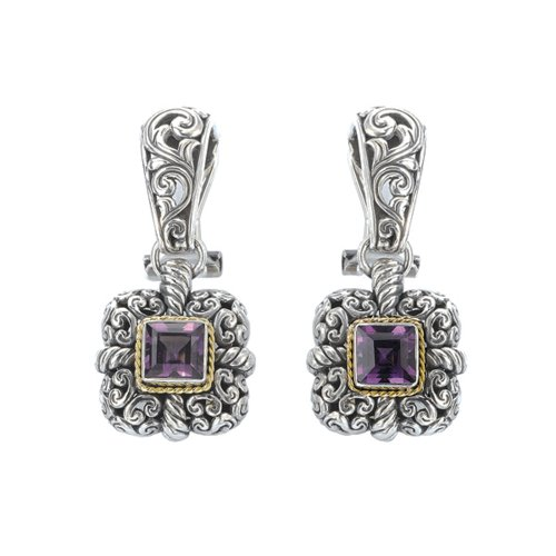 925 Silver & Amethyst Square Filigree Earrings with 18k Gold Accents