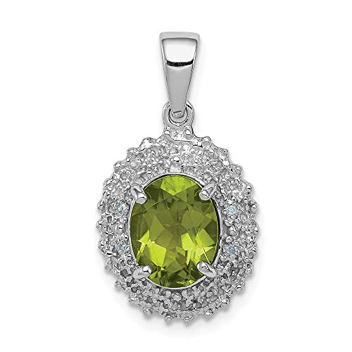 (925 Sterling Silver Green Peridot Diamond Pendant Charm Necklace Gemstone Fine Jewelry Gifts For Women For Her)