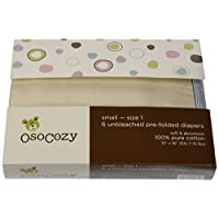 OsoCozy - Prefolds Unbleached Cloth Diapers, Size 1, 6 Count - Soft, Absorben...