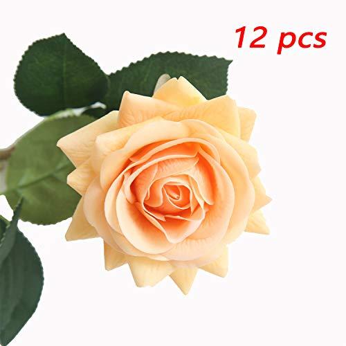 JOEJISN Artificial Flower Roses Fake Roses 12pcs Real Touch Artificial Roses Silk Artificial Roses Long Stem Bridal Wedding Bouquet for Home Garden Office Wedding Decorations (Light ()