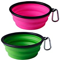 HsyAryme 34oz (1000ml) Collapsible Dog Bowl, Foldable Pet Traveling Silicone Bowl, Extra Large Portable Travel Bowls with Carabiner Clip (Pink+Green)