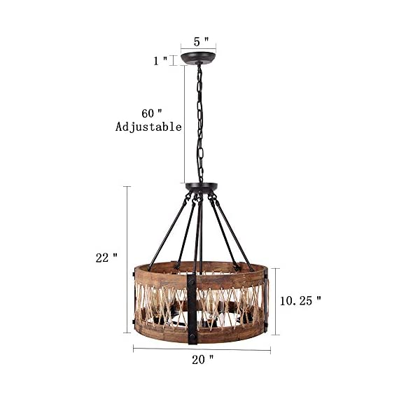 """Anmytek Round Wooden Chandelier with Clear Glass Shade Rope and Metal Pendant Five Decorative Lighting Fixture Retro Rustic Antique Ceiling Lamp, C0003 Brown - HEIGHT ADJUSTABLE CORD MOUNTED: Includes Rubber insulated adjustable cord with a 82 inches max height. 20 INCH BIG WOOD FRAME: 20"""" diameter x 10.25"""" high, round clear glass cover with exposed decorative hardware. Perfect for kitchens, over counters and islands, Bar, Cafe and in hallways. CANOPY: 5 """" round canopy with a 60"""" chain gives maximum flexibility in hanging heights. Perfect for sloped ceilings and compatible with most junction boxes. - kitchen-dining-room-decor, kitchen-dining-room, chandeliers-lighting - 41VTSSothaL. SS570  -"""