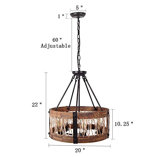 Rustic Lighting Rope Pendant Light Rope Light Wood Beam: Round Wooden Chandelier With Clear Glass Shade Rope And