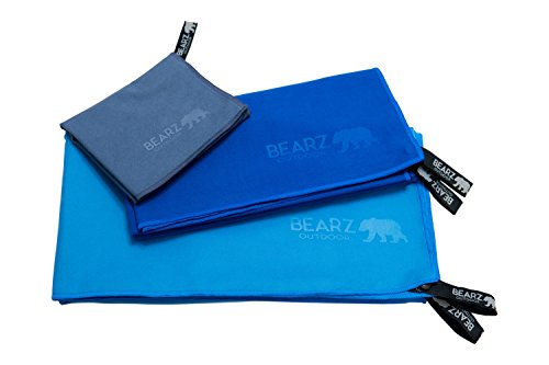 BEARZ Outdoor Microfiber Towel Set for Travel & Sports. Compact & Absorbent Cloth for Camping, Swimming, Beach, Gym, Yoga, Golf. Gear w/Bag, Water Resistant Pocket, Carabiner, Face Cloth (Large Set)