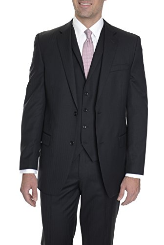 Alfani Red Slim Fit Black Tonal Striped Two Button Wool Suit 36R ()