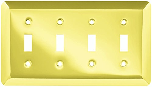 Franklin Brass W10248-PB-C Stamped Round Quad Toggle Switch Wall Plate/Switch Plate/Cover, Polished (Quad Switch)