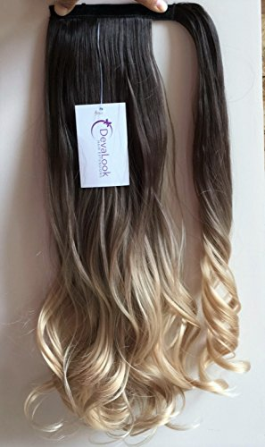 Long Wavy Dip Dye Ombre Wrap Around Ponytail Clip in Hair Extensions dark brown/sandy blonde
