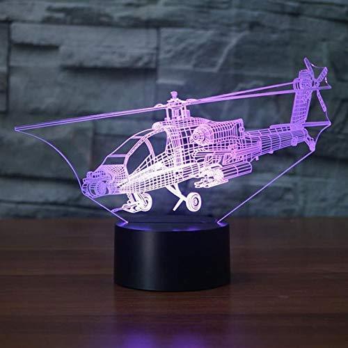 3D Nachtlicht Kreative Hubschrauber Nachtlichter 3D Led Flugzeug Tischlampe 7 Farben Ändern Schlafzimmer Nacht Baby Schlaf Leuchte Weihnachten Geschenke LED-Lichtquellen