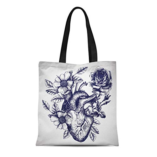 (Semtomn Cotton Canvas Tote Bag Blooming Anatomical Human Heart in Vintage for Your Tattoo Reusable Shoulder Grocery Shopping Bags Handbag Printed)